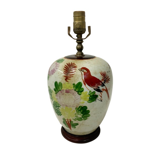 Vintage Chinese Sparrow and Flowers Ginger Jar Lamp For Sale