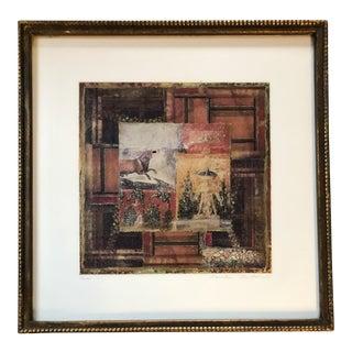 "Original Vintage Danielle Desplan Collage ""Pompei"" Listed Ny Artist For Sale"