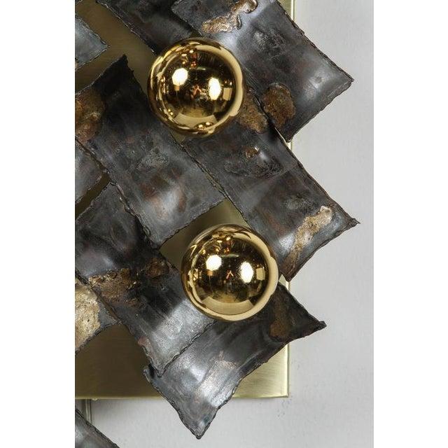 Brass Mid-Century Brutalist Flush Mount Fixture For Sale - Image 7 of 9