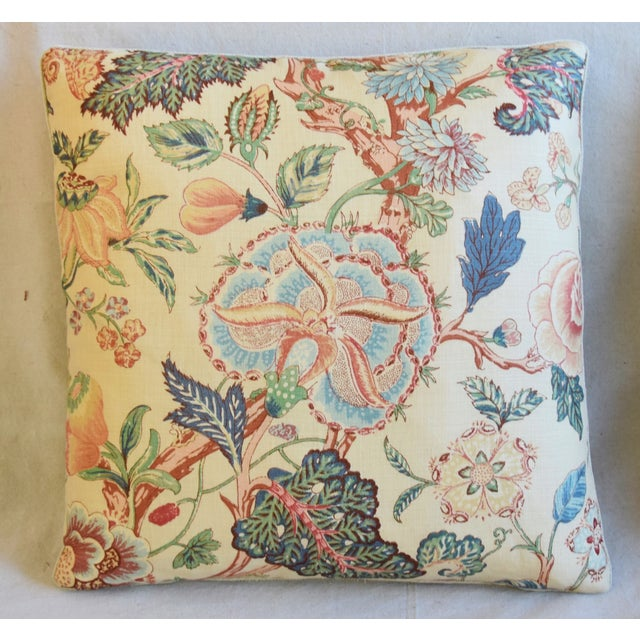 """Abstract Travers Tree-Of-Life Linen Feather/Down Pillows 22"""" Square - Pair For Sale - Image 3 of 13"""
