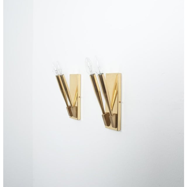 Brass Brass Wall Lights Sconces Attributed Gio Ponti Midcentury For Sale - Image 7 of 11