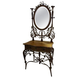 19th Century Wicker Dressing Stand Vanity Heywood Brothers & Wakefield Co. For Sale