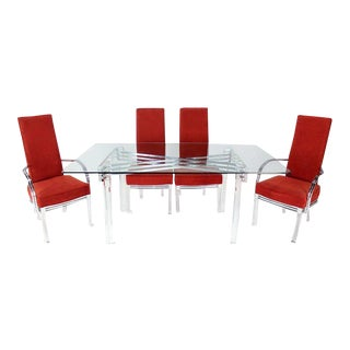 Mid-Century Modern Set of Six Dining Chairs and Table in Lucite, Chrome, Glass For Sale