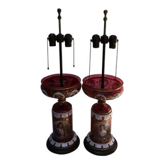 Bohemian Moser Enameled Table Lamps - A Pair