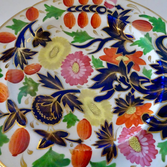 Blue 19th Century Porcelain Plate With Decorative Floral Design For Sale - Image 8 of 10