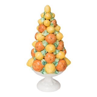 Large Italian Majolica Lemons & Oranges Topiary Centerpiece For Sale
