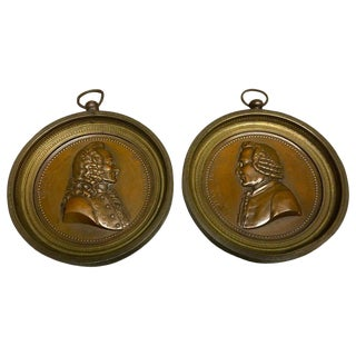 Pair of French Bronze Portrait Plaques of Voltaire & Rouseau, Signed Marie F For Sale