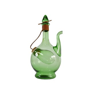 Vintage Hand Blown Italian Green Glass Wine Decanter Carafe With Ice Chamber Chiller and Stoppers For Sale