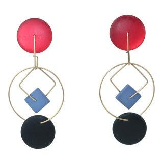 Post Modern Memphis Style Geometric Dangle Earrings For Sale