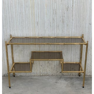 Mid-Century Modern Italian Faux Bamboo Gilt Metal Console With Smoked Glass Preview