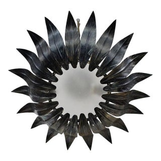 Spanish Sunburst Flush Mount Ceiling Fixture With Dark Patinated Finish For Sale