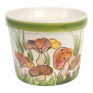 1970s Vintage Brazilian Mushroom Planter Hand Painted Ceramic Pot For Sale
