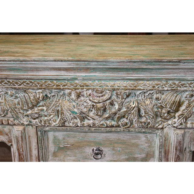 Vintage Credenza Vintage Style Chest Buffet Ivory Green Carved Brass Inlay Sideboard For Sale - Image 6 of 7