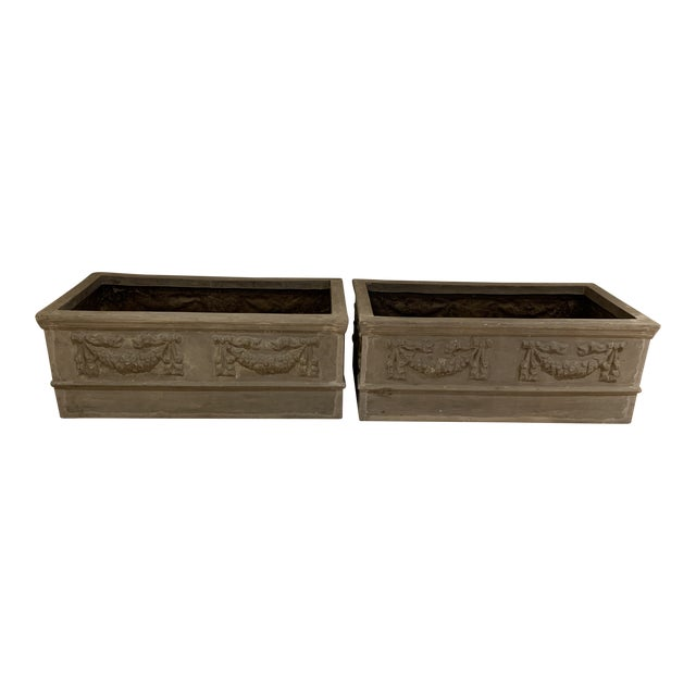 Grand Classical Planters With Swag Detailing in Faux Lead Resin - a Pair For Sale