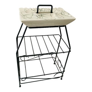 Mid Century Modern Atomic Ashtray Stand 3 Tier Magazine Rack Smoking Stand For Sale