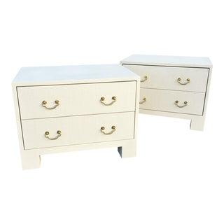 Elegant Raffia Grasscloth Two-Drawer Dresser Nightstands - A Pair For Sale