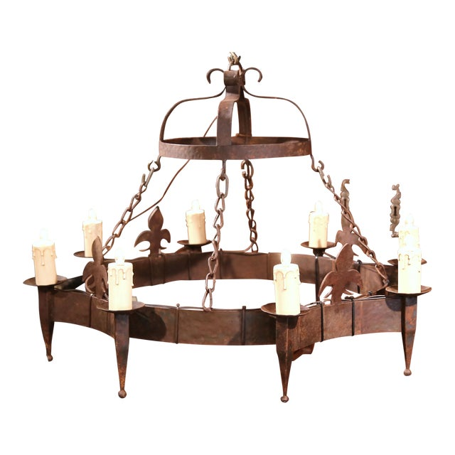 19th century french eight light wrought iron chandelier with fleurs 19th century french eight light wrought iron chandelier with fleurs de lys aloadofball Images