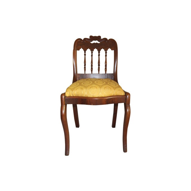 Wood & Yellow Seat Louis XV Style Side Chair - Image 1 of 7