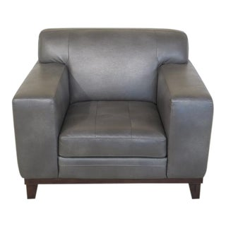 Modern Design Grey Stitched Leather Chair