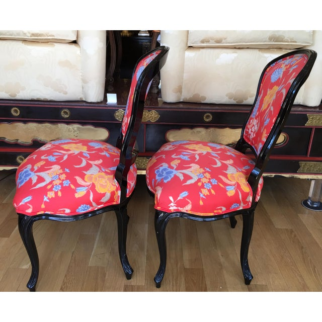 Black Lacquer Louis XV Style Chairs - A Pair - Image 4 of 5