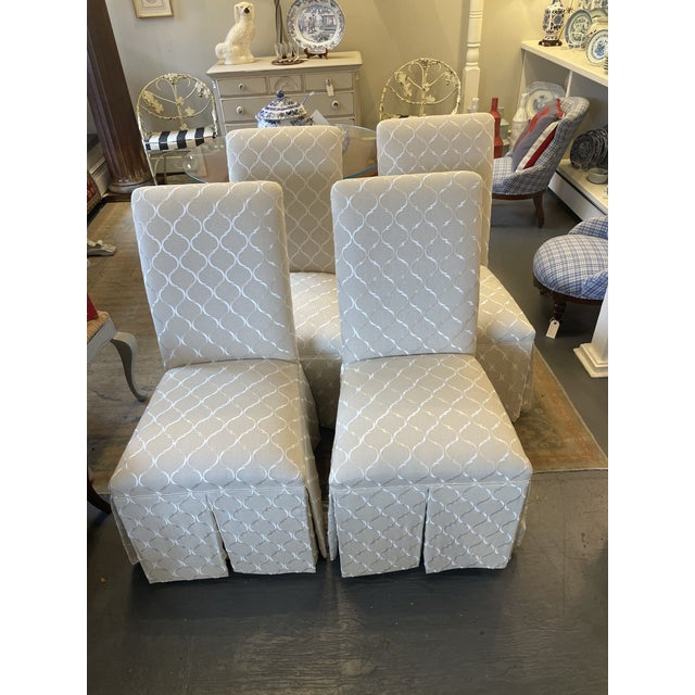 Textile 1960s Vintage Parsons Style Slipper Chairs - Set of 4 For Sale - Image 7 of 7