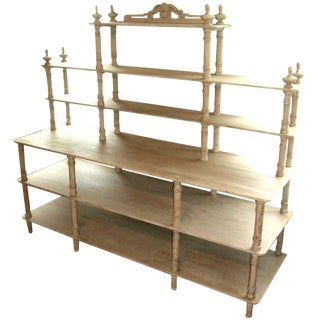 Grey Painted French Shelving Unit For Sale