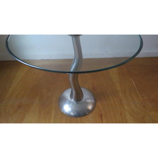 Contemporary 1980s Modern Aluminum and Glass Side Table For Sale - Image 3 of 6