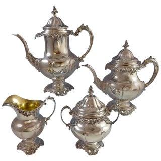 Grande Baroque Wallace Sterling Silver Tea Set Stunning 4-Piece Set Hollowware For Sale