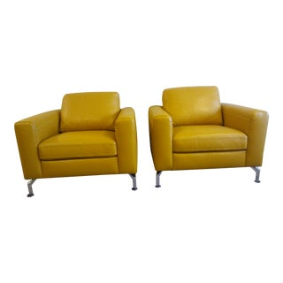 Scandinavian Leather Club Chairs - A Pair