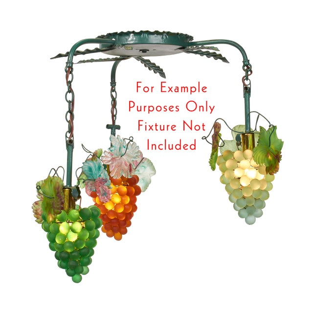 Art Nouveau 1930s Murano Multicolor Grape Cluster Lamp Shades - Set of 7 For Sale - Image 3 of 5