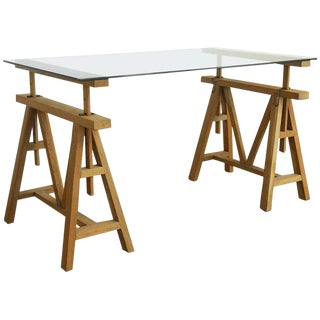 Mid-Century Adjustable Height French Oak Sawhorse Desk