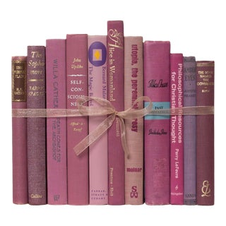 Late 20th Century Magenta Manuscript Gift Set of Books For Sale