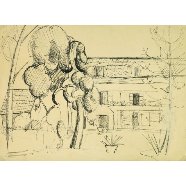 """Vintage Ink Drawing """"House of Merriment"""" For Sale - Image 4 of 4"""