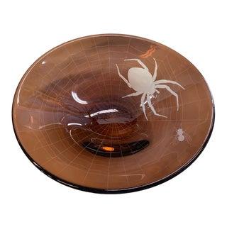 1990s Engraved Art Glass Spider Web Bowl by Stromberg Hyttan For Sale