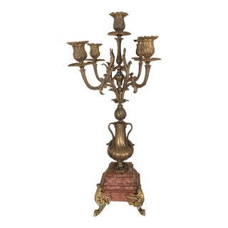 Antique Victorian Bronze Candelabra on Rouge Marble Base For Sale
