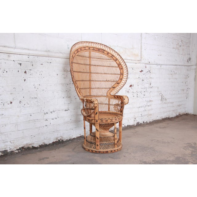 "Boho Chic 1970s Bohemian Wicker ""Emanuelle"" Peacock Chair For Sale - Image 3 of 13"