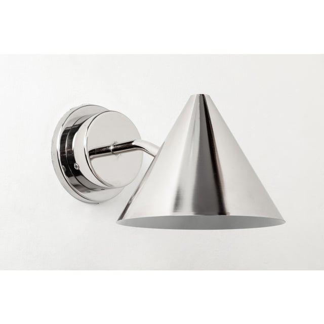 Hans-Agne Jakobsson 'Mini-Tratten' Polished Nickel Outdoor Sconces - a Pair For Sale In Los Angeles - Image 6 of 8