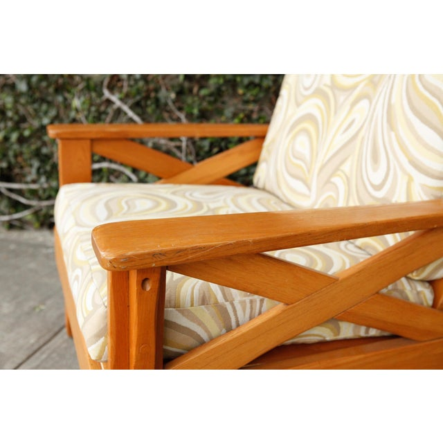 Wood Vintage Cushioned Side Chair For Sale - Image 7 of 8