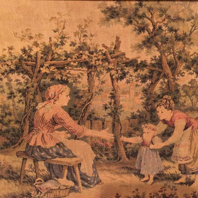 French antique framed tapestry 19th century.