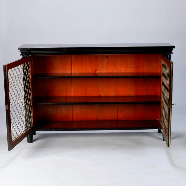 Ebonised English Sideboard With Brass Grills For Sale - Image 4 of 10