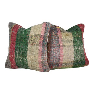 Turkish Multi-Colored Square Kilim Pillow Covers - Set of 2 For Sale