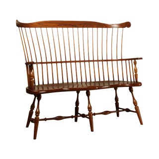 Frederick Duckloe & Bros Windsor Style Fan Back Cherry Valley Settee For Sale