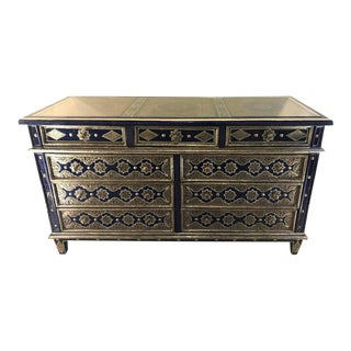 Handmade Moroccan Blue Chest, Silver Metal and Copper Inlaid
