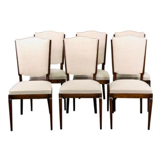 French Mid Century Polished Beech Frame Dining Chairs With New Upholstery - Set of 6 For Sale
