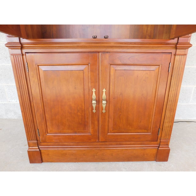"""Red Stickley Cherry 4 Door Bookcase Lighted Display Wall Cabinet Model 4740 """"B"""" For Sale - Image 8 of 13"""