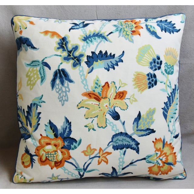 """Custom-tailored pillow in Schumacher cotton fabric called """"Scottish Thistle"""" depicting a beautiful colorful floral design...."""