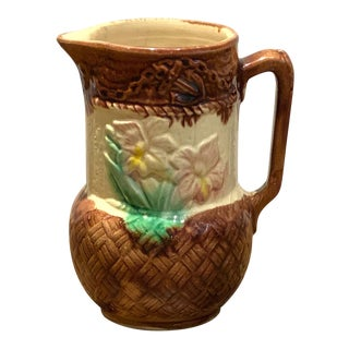 19th Century English Majolica Pitcher With Flowers For Sale