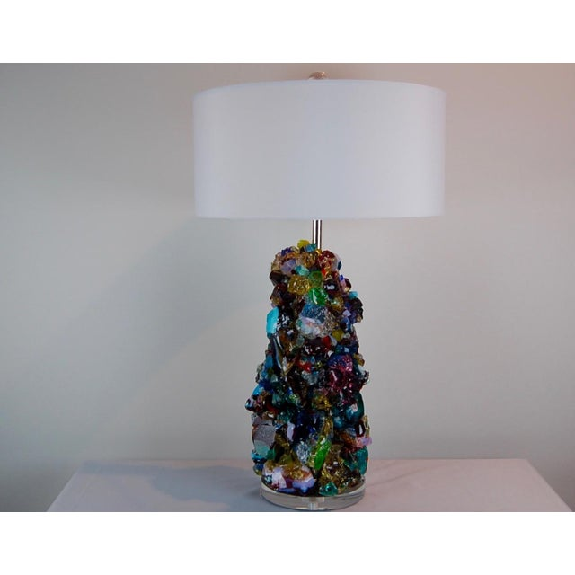 Rock Candy glass table lamps by Swank Lighting! Elegant crystal cluster lamps in MULTICOLOR RAINBOW made of tumbled...