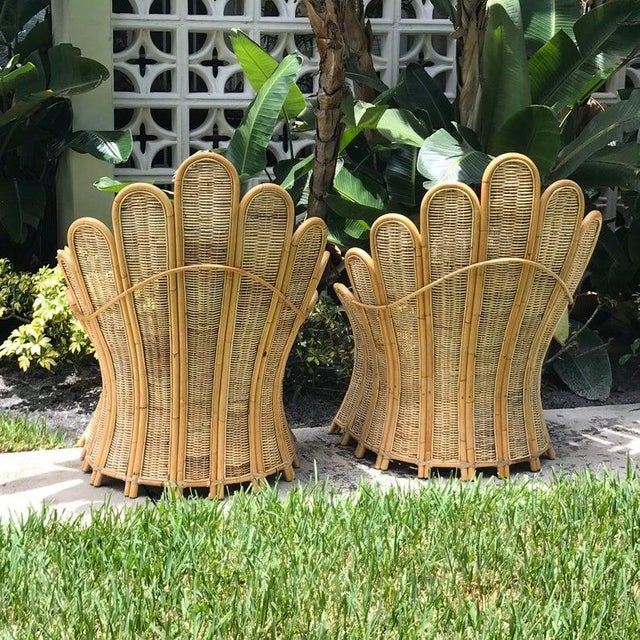 Vintage Rattan Palm Frond Chairs With Unused Monkey Embroidered Upholstery ( White Reflections on Fabric Is Camera) Green at Feet Is Grass - a Pair For Sale - Image 4 of 7