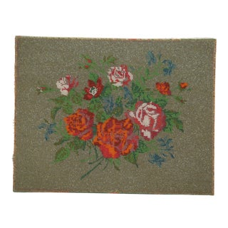 Floral Beaded Canvas Textile Art For Sale